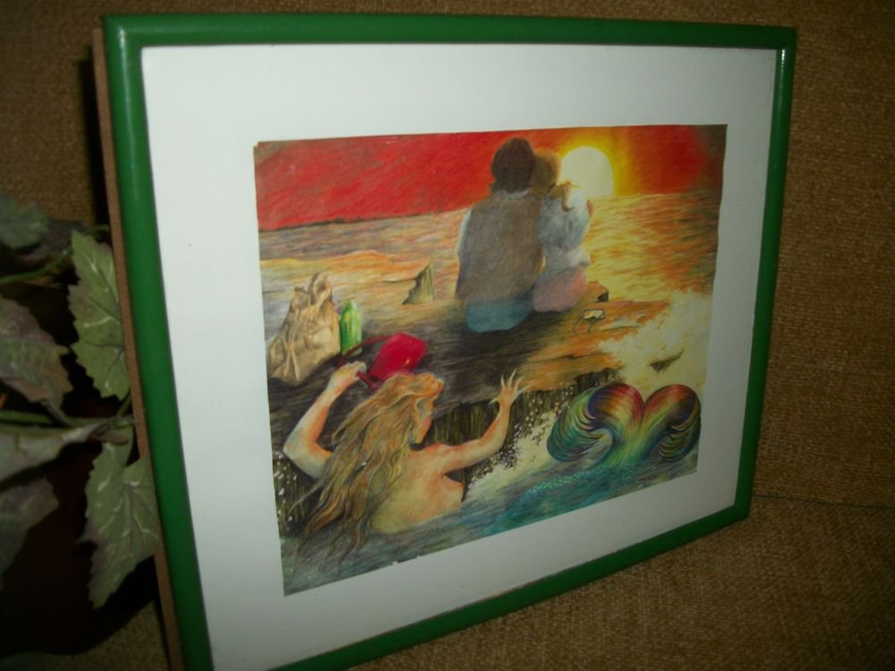 Ocean Mermaid Couple at Sunset, Sea Thief, Framed Art Print by R. Elaine Holm