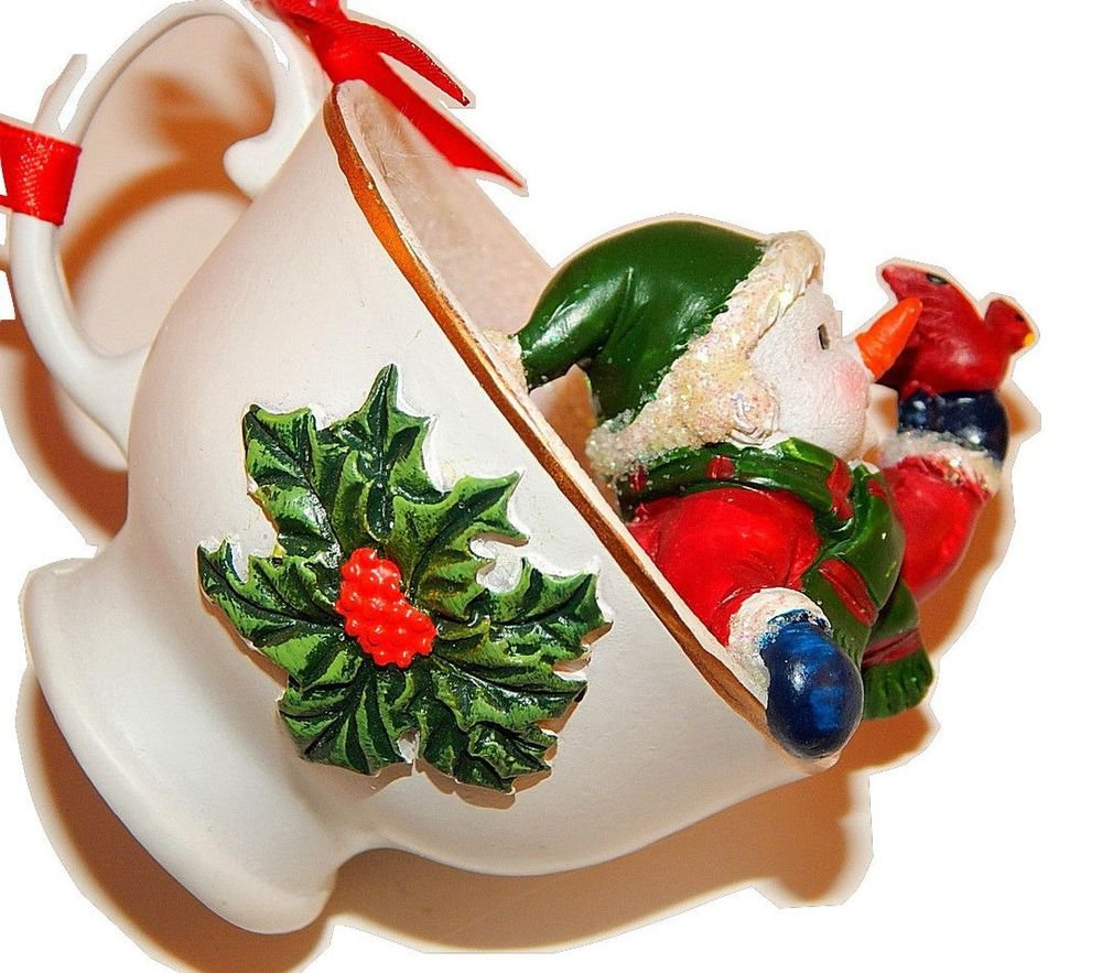 Snowman Tea Cup Christmas Tree Ornament Colorful Handpainted Resin Figurine