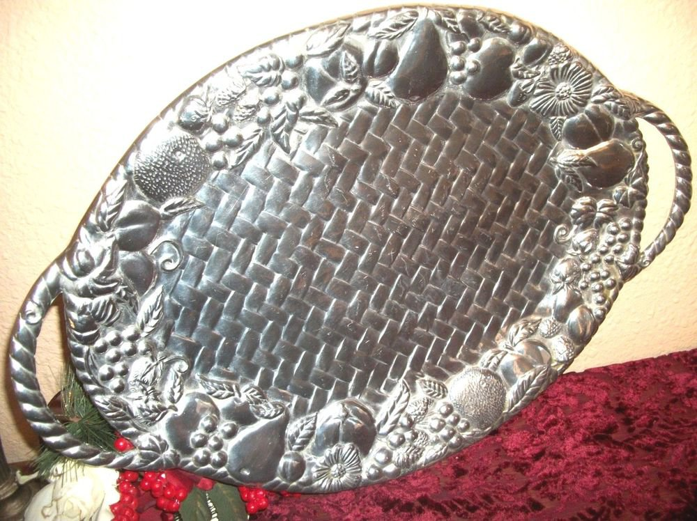 Lenox Oval Serving Tray VTG Pewter & Aluminum Basket Weave Fruit Silver Platter