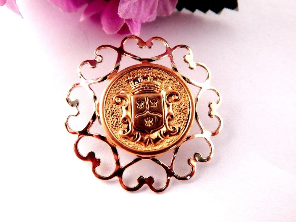 Medallion Brooch Gold Metal Crest Coin Pin Chain of Hearts Frame Vintage Jewelry