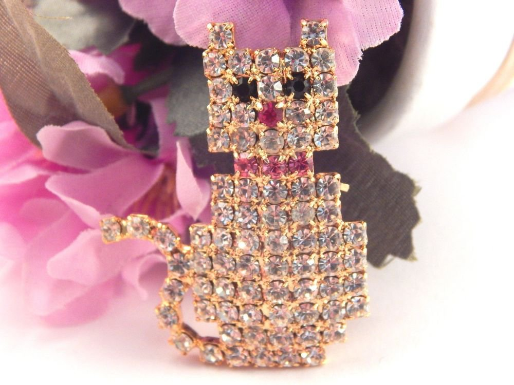 Rhinestone Cat Brooch Sparkly Gold Metal Kitten Pin Costume Jewelry Vintage Gift