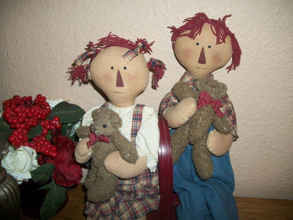 Folk Art Rag Dolls He She Boy Girl Raggedy Ann Style Americana Home Decor