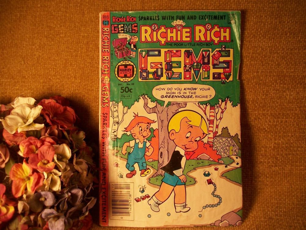 Comic Book Harvey World Richie Rich Poor Little Rich Boy Gems VTG Issue 39