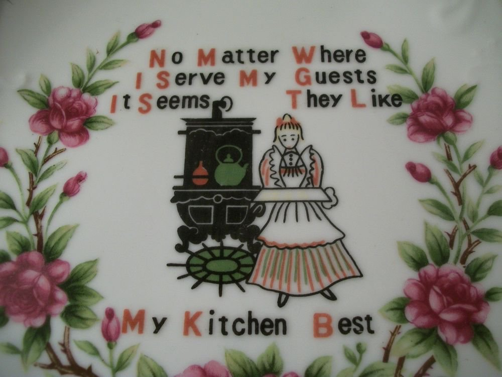 Kitchen Wall Plate Poetry Plaque Porcelain Ceramic VTG Mid-Century Home Decor