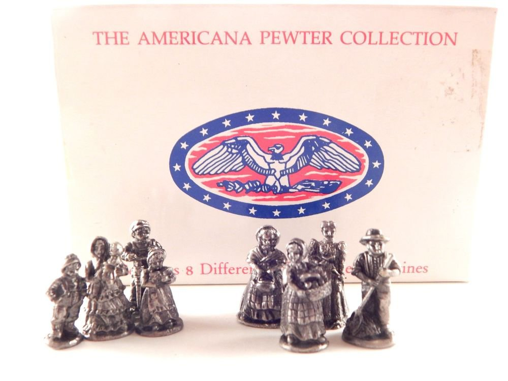 American Pewter Collection Figurines Eight Miniature VTG Revolution Era People