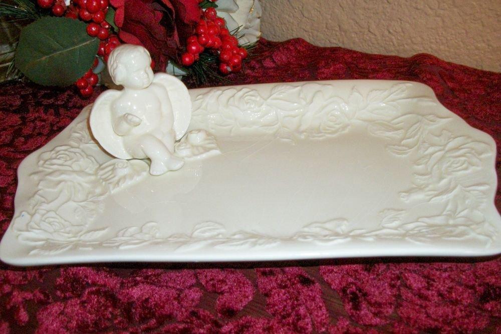 Angel Figurine Vanity Table Tray White Ceramic Cheruband Roses VTG Home Decor