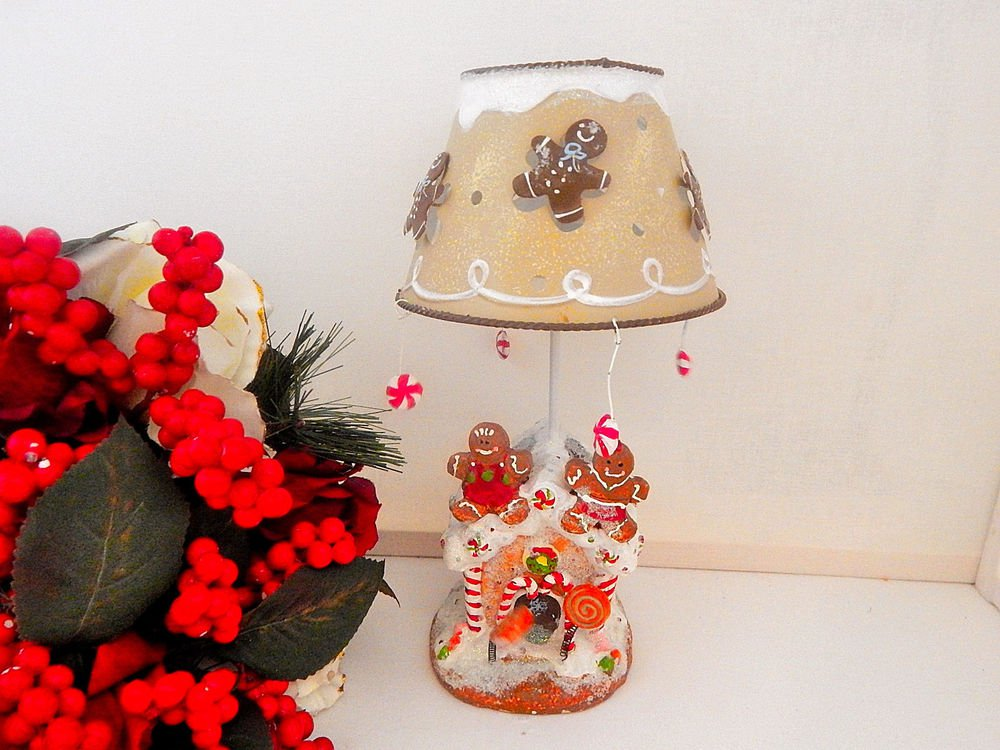 Gingerbread House Tea Light Candle Holder Table Lamp Christmas Decoration