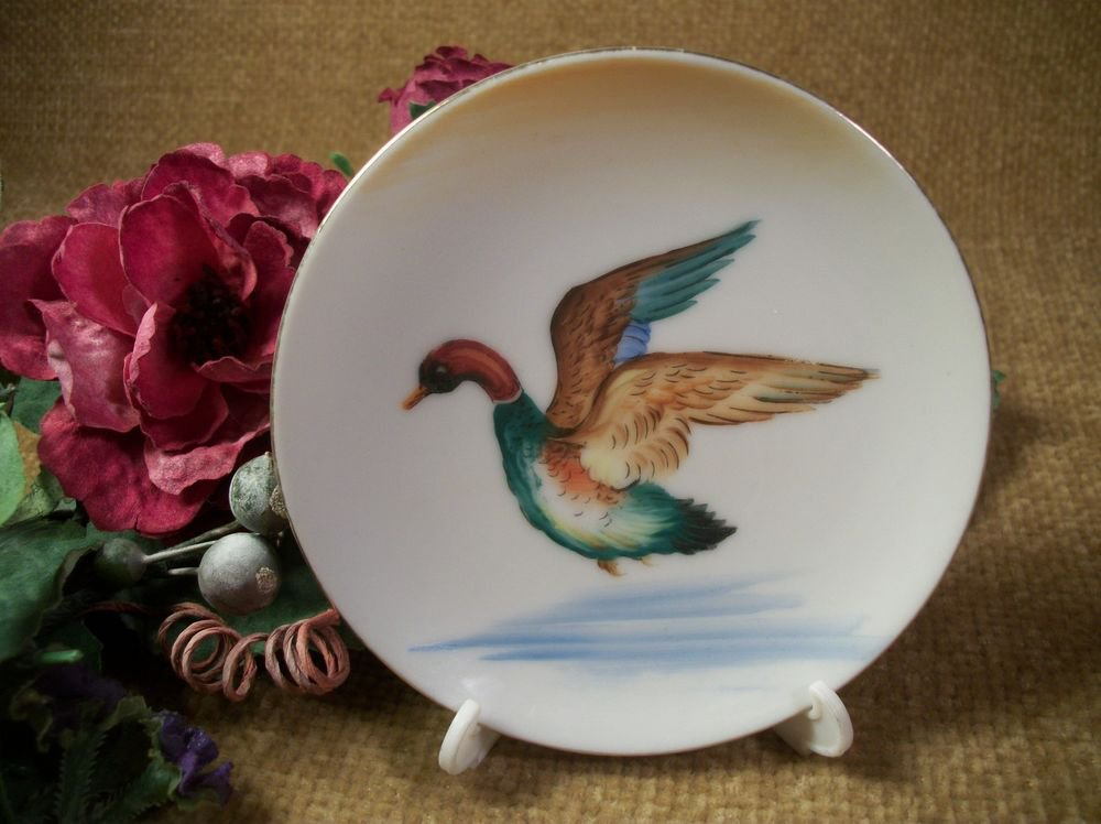 Porcelain Plate Bird Duck Mallard Flying Over Water Small Decorative Dish