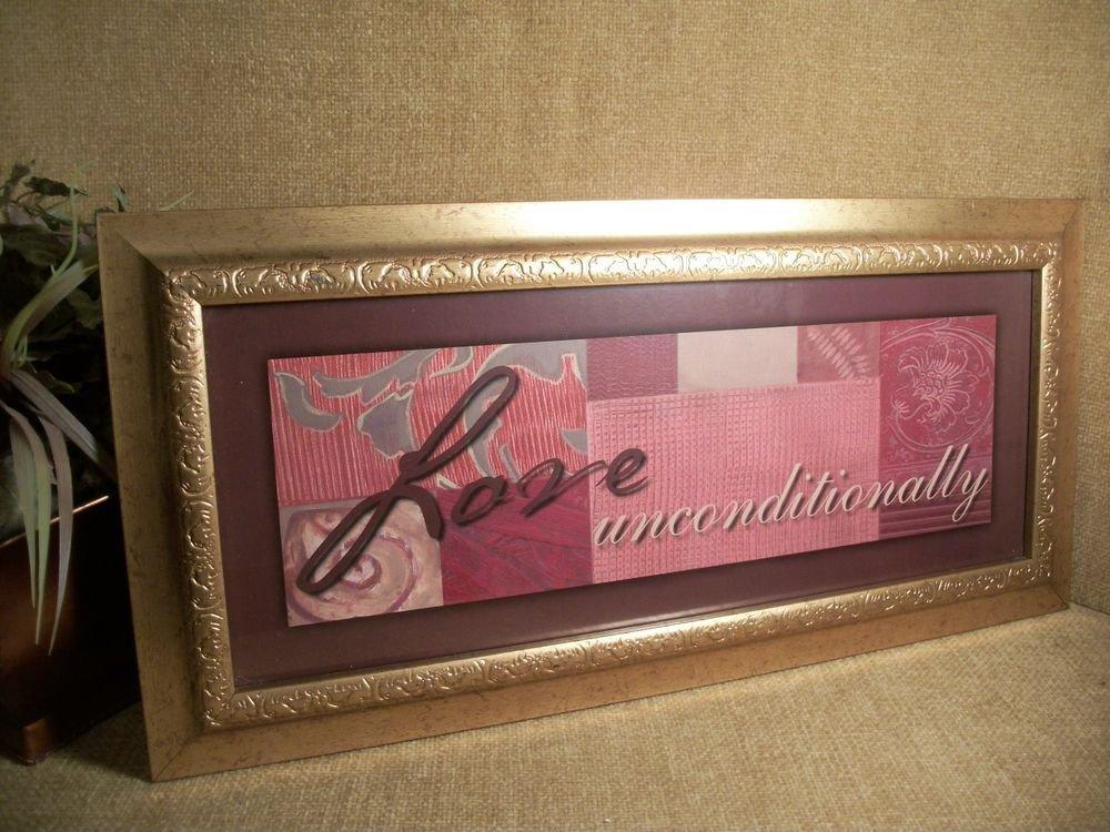 LOVE UNCONDITIONALLY Framed Art Print Modern Geometric Plum Pink Wall Hanging