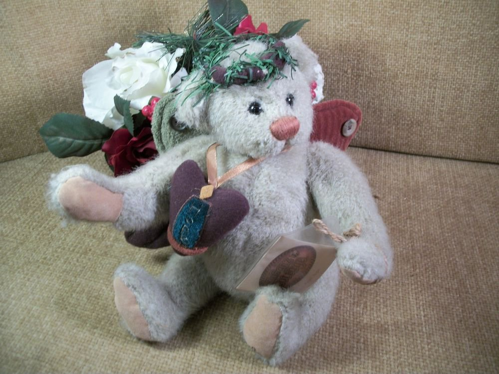 GANZ Cottage ANGEL HOPE BEAR Christmas Stuffed Plush Lorraine Chien Collectible