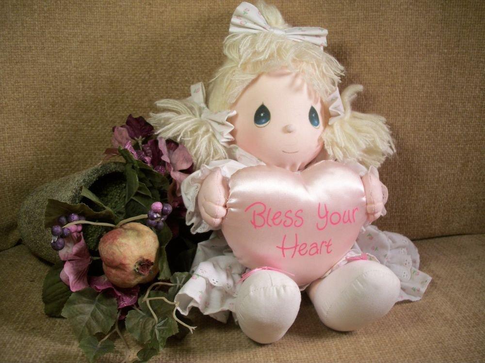 Precious Moments Blond Doll Bless Your Heart Pink Satin Pillow VTG 1985 Keepsake