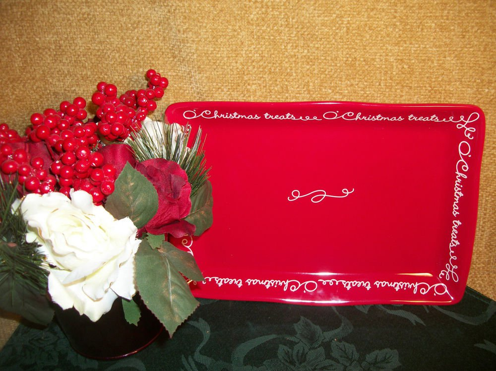 Hallmark Christmas Holiday Tableware Christmas Treats Red Serving Platter