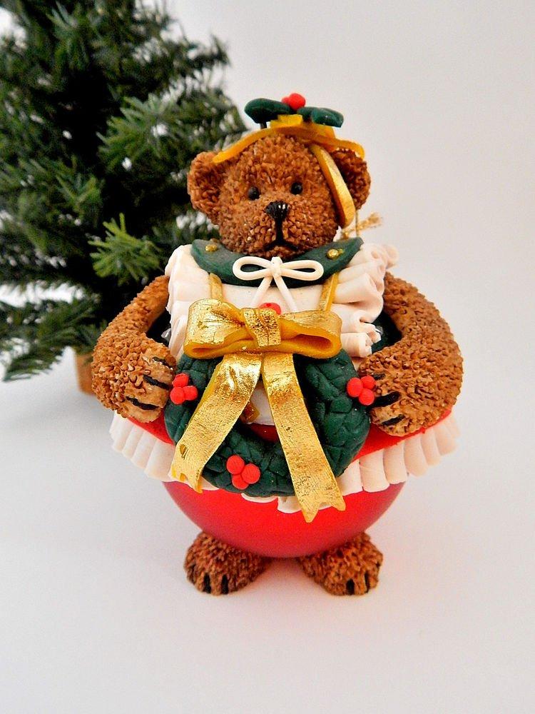 Teddy Bear Figurine Christmas Tree Ornament Roly-Poly Brown Resin Girl Bear