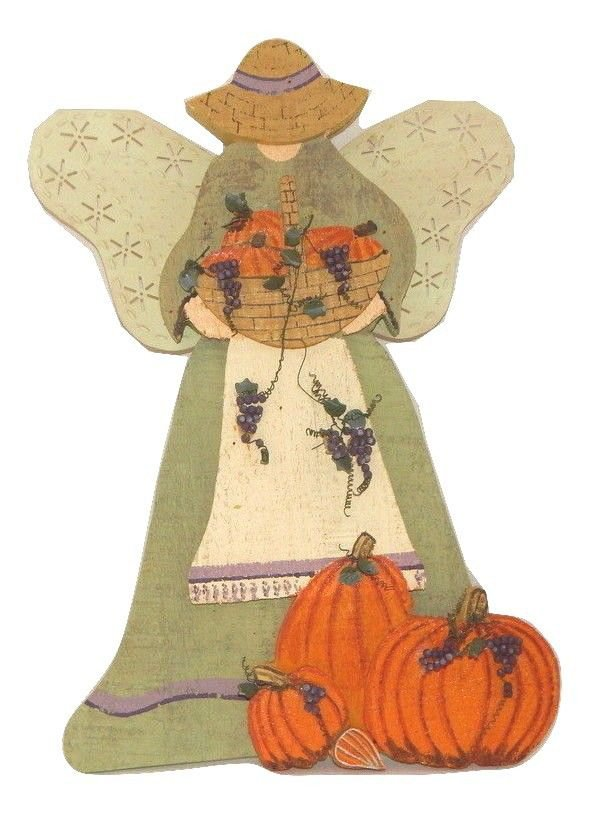 Harvest Angel Wall Hanging Wood and Metal Fall Grape Pumpkin Rustic Home Decor
