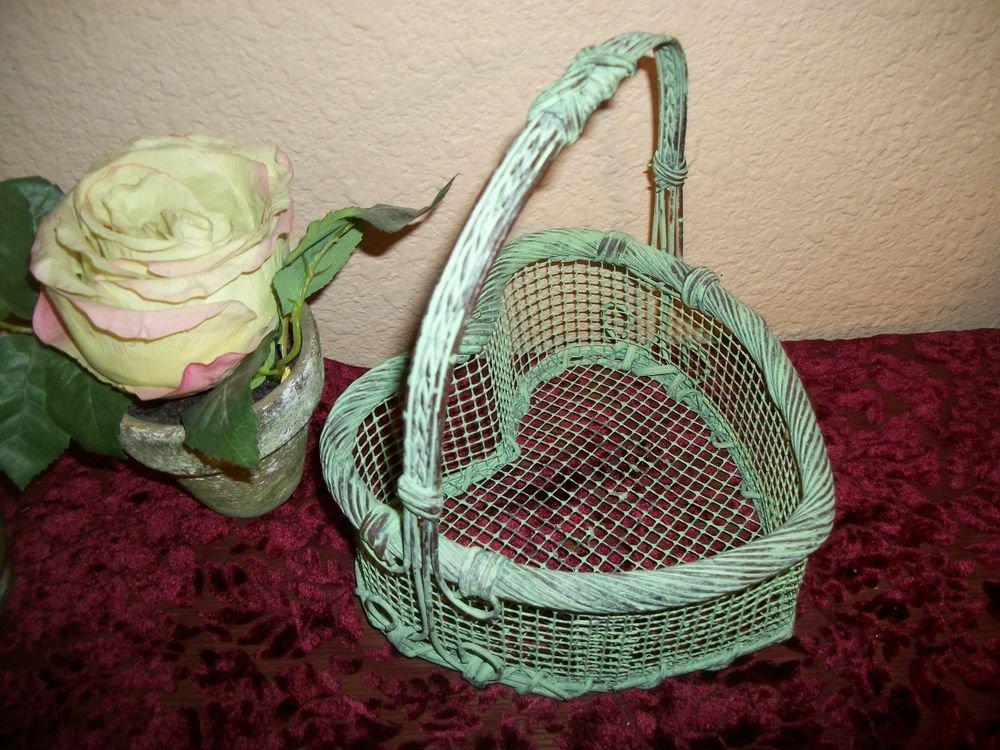 Wire Mesh Metal Basket Green Heart VTG Shabby Cottage Craft Supply Home Decor