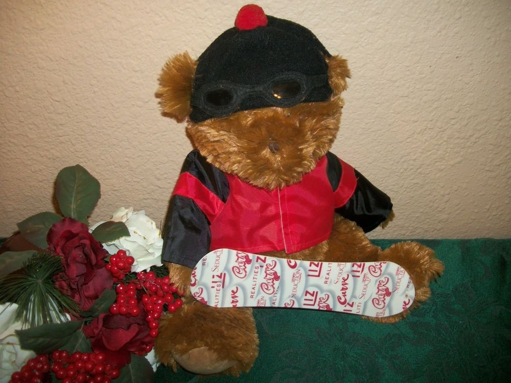 Snowboard Bear Stuffed Plush Animal Liz Claiborne Winter Christmas Decoration