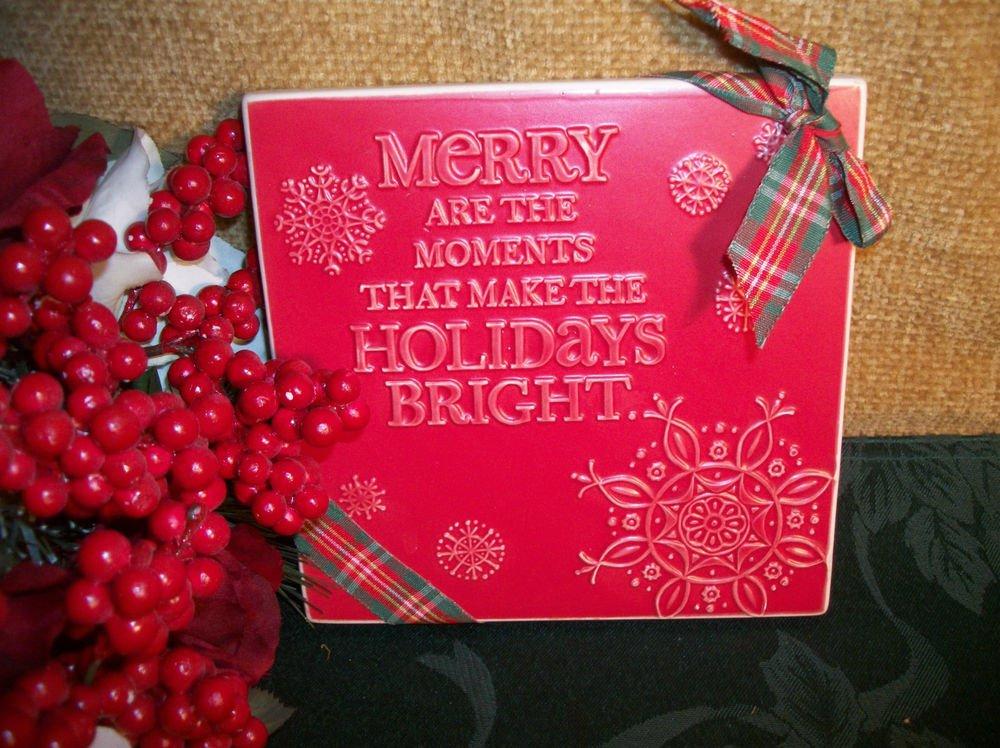 Hallmark Collectible Christmas Holiday Decoration Red Tile Snowflake Trivet