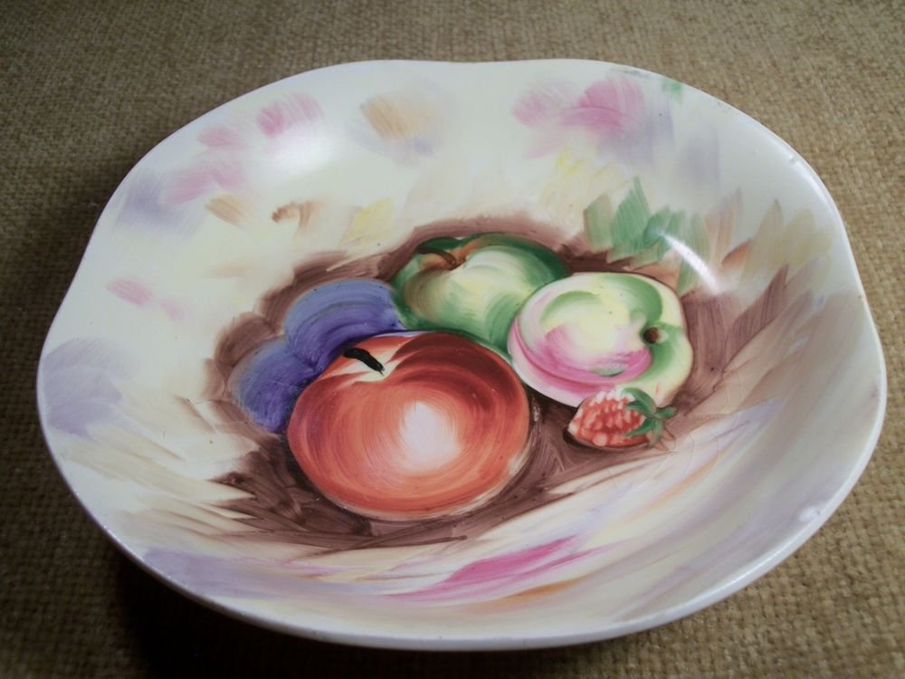 Fruit Still Life Apple Plum Berry Wall Plate Bowl VTG Collectibe Ucagco Ceramics