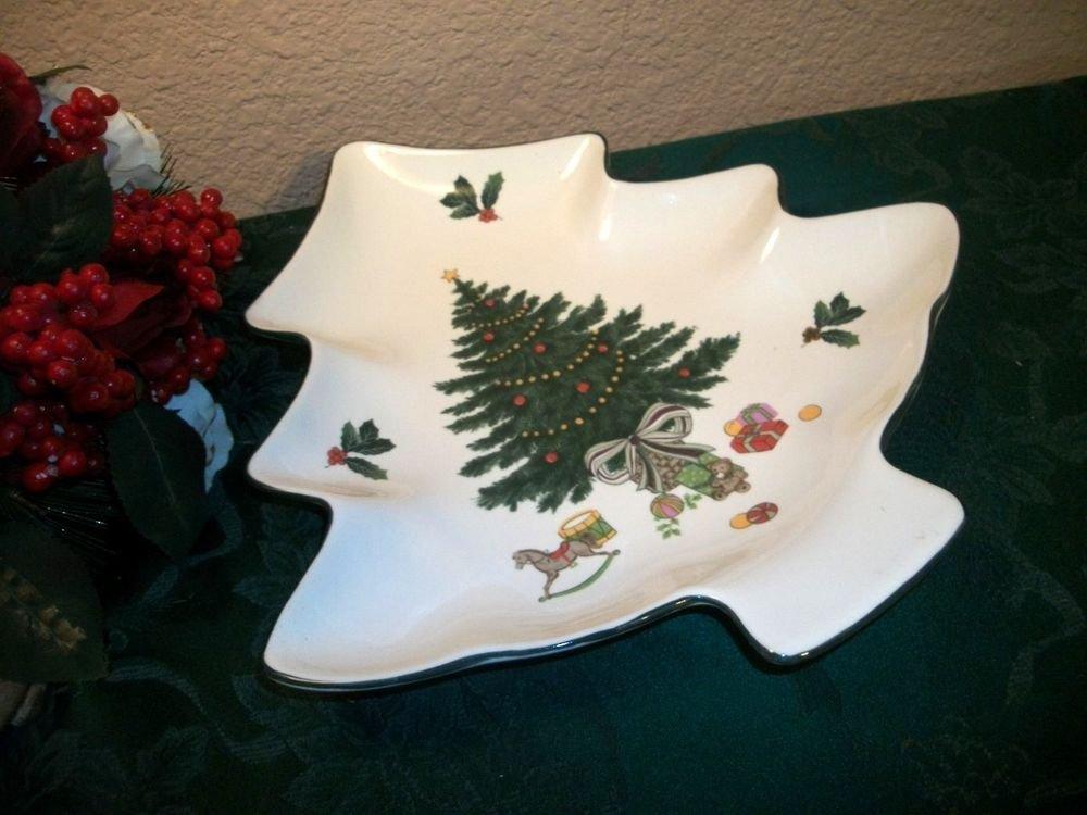Christmas Tree Plate Mikasa Heritage Holiday Dish Serving Bowl Ceramic Tableware