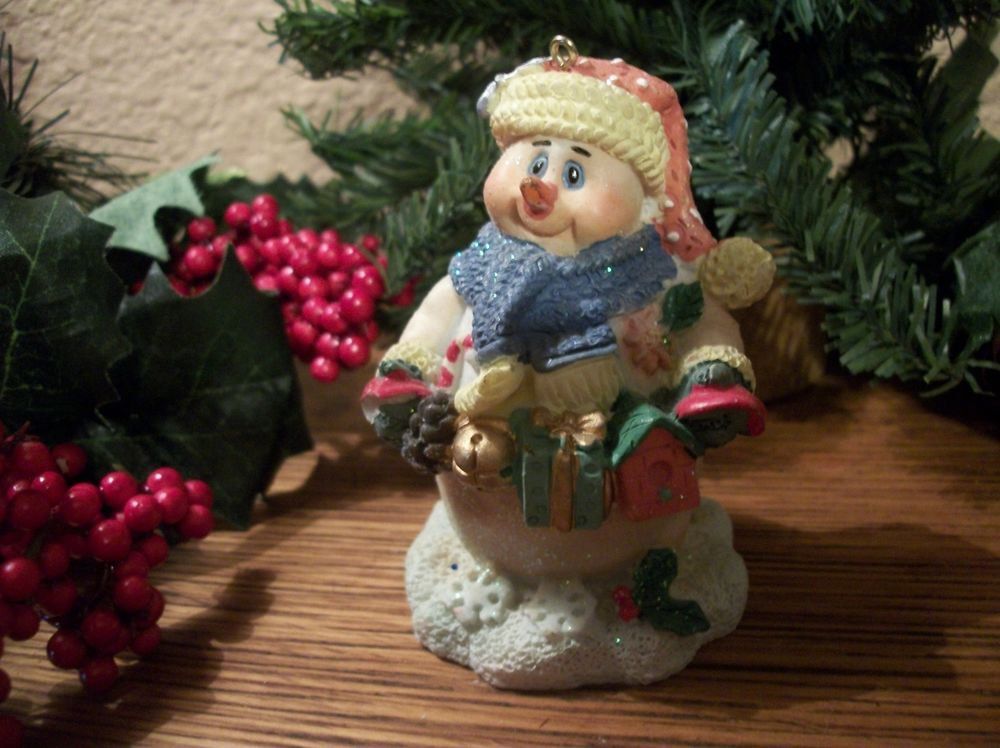 Snowman Christmas Tree Ornament or Winter Holiday Figurine Colorful Heavy Resin