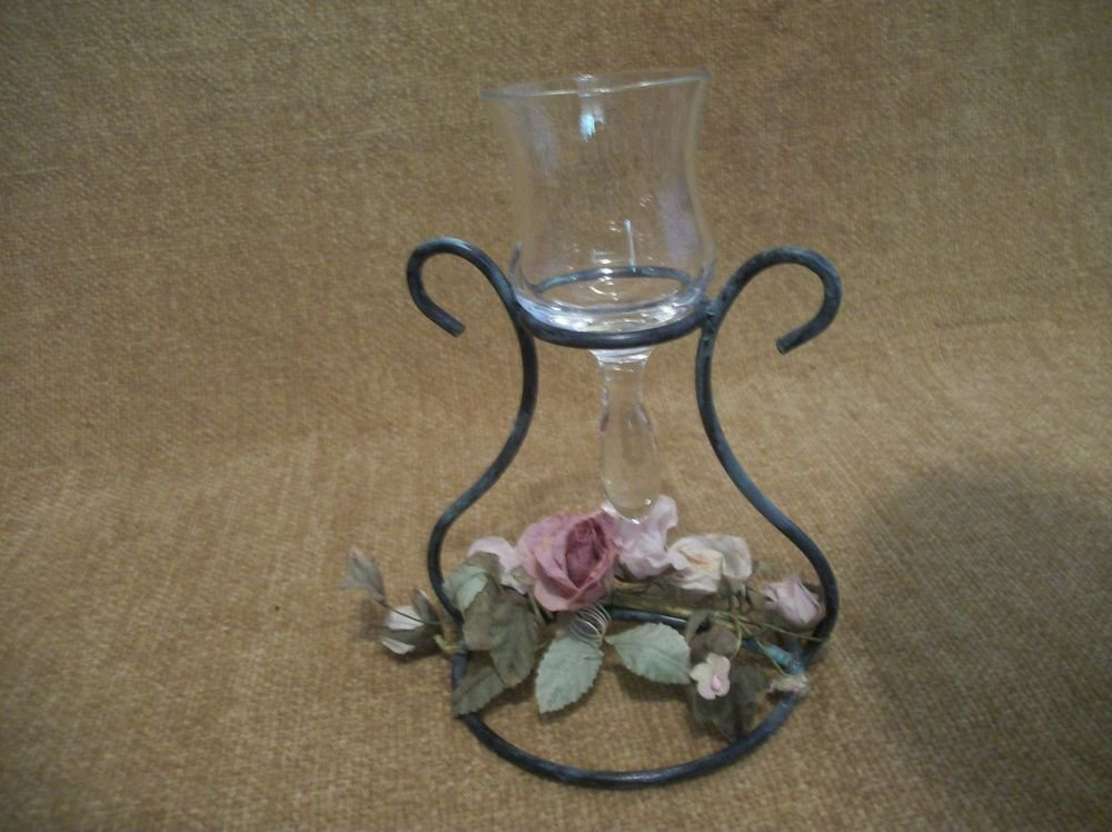 Votive Candle Holder Cottage Chic French Country Victorian Decor Pink Roses
