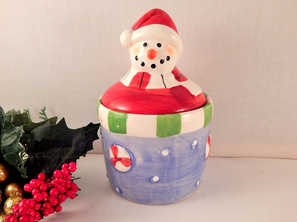 Snowman Covered Dish Candy Jar Ceramic Crock VTG Royal Norfolk Christmas Decor