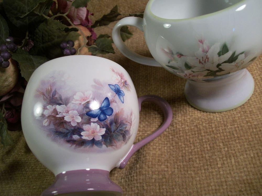 VTG Teleflora Tea Cups Blossoms Butterflies Hummingbirds Lilies by Lena Lici