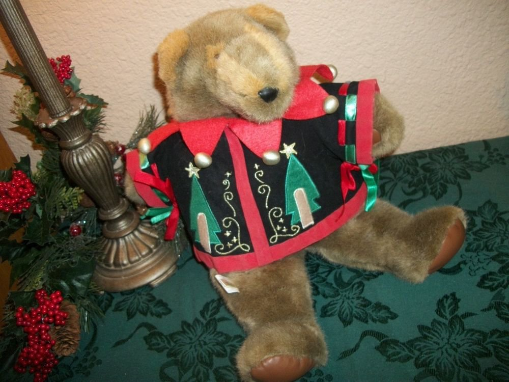 "Teddy Bear 17"" Brown Plush Stuffed Animal Christmas Decoration Holiday Keepsake"