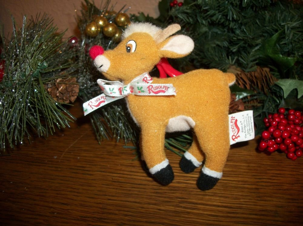 Rudolph the Red Nosed Reindeer Stuffed Animal Toy Clip On Christmas Ornament