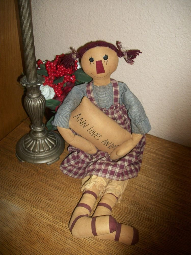 "Raggedy Ann Style Girl Doll 24"" Hand Crafted Soft Sculpture Country Home Decor"