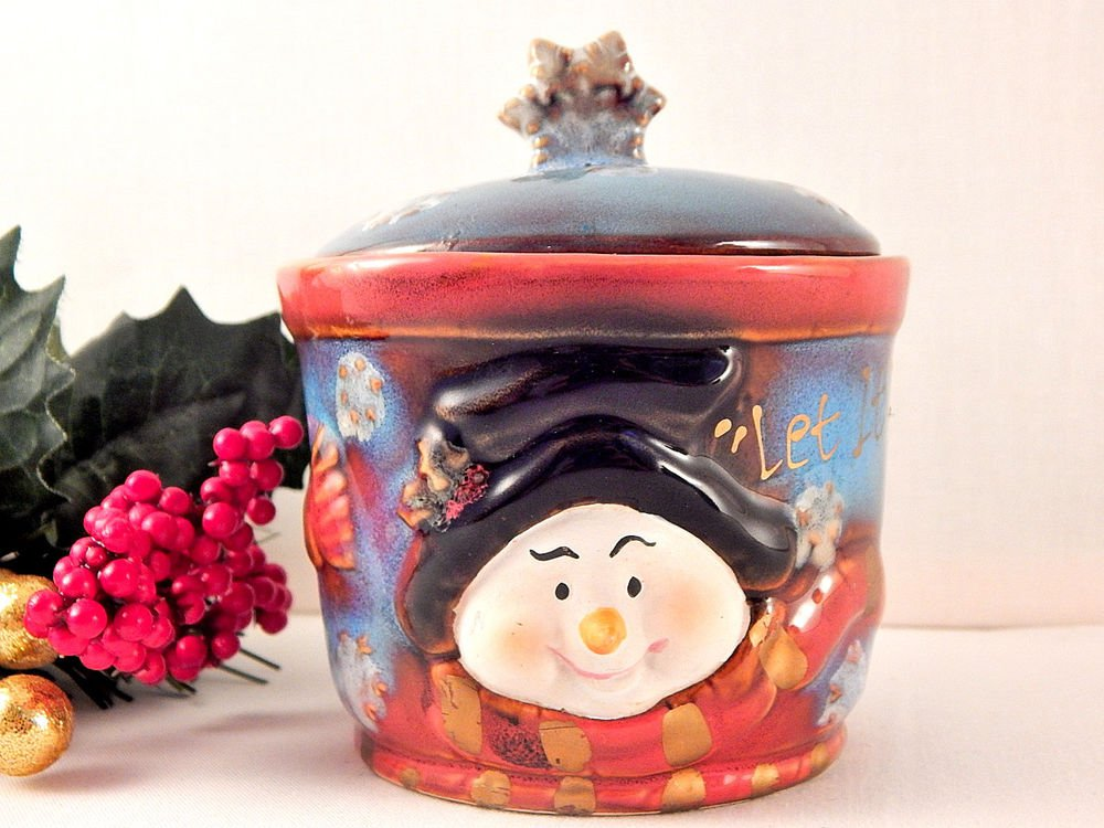 Snowman Jam Serving Dish Covered Candy Jar Butter Crock Christmas Tableware