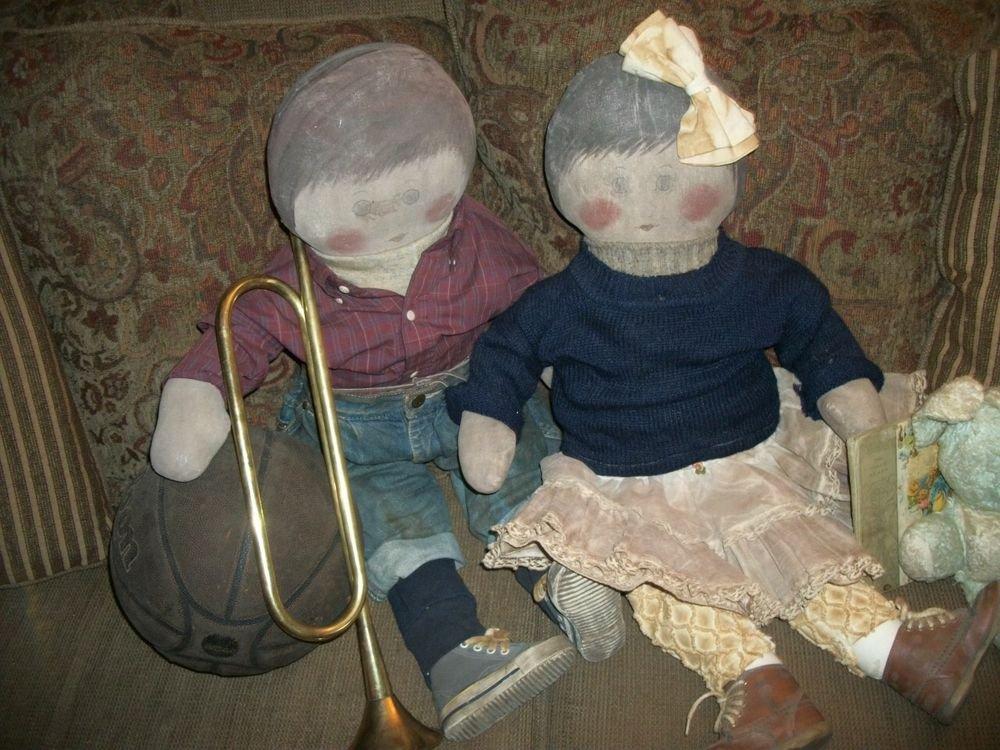 """Artisan Dolls He She Boy Girl 30"""" Soft Sculpture Hand Painted Muslin Home Decor"""