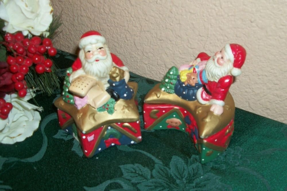 Santa Claus Jewelry Boxes Celestial Star Moon Ceramic Christmas Trinket Dishes