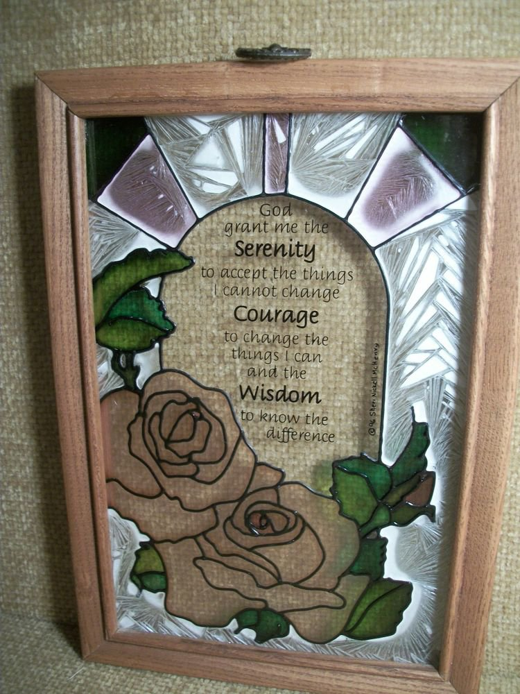 SERENITY PRAYER Wisdom Courage Colored Glass Pink Roses Hanging Window Decor