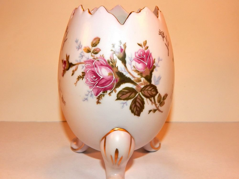 Napco Egg Vase Footed Pink Rose Porcelain VTG Moriage Gilded Transferware Decpr
