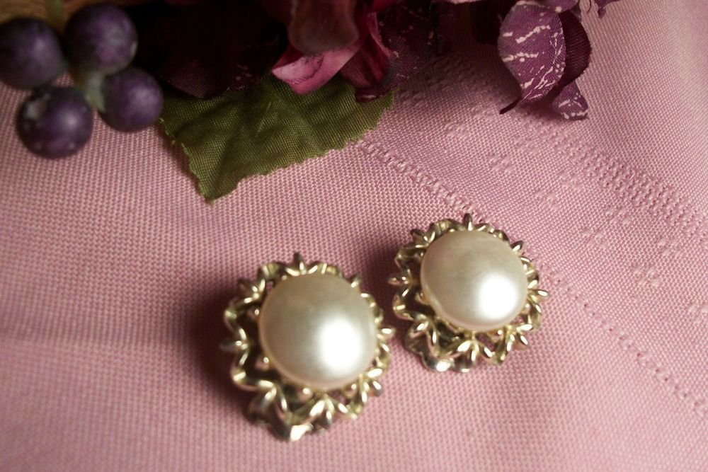 Earrings Clip On White Faux Mabe Pearl Gold VTG CORO Designer Signed Jewelry