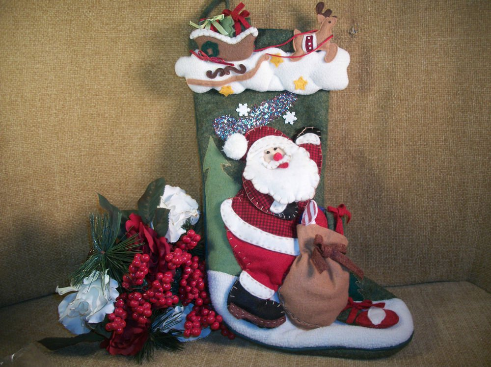 Christmas Stocking Santa with Toy Sack Polyester Sock Hanging Decor by Delton