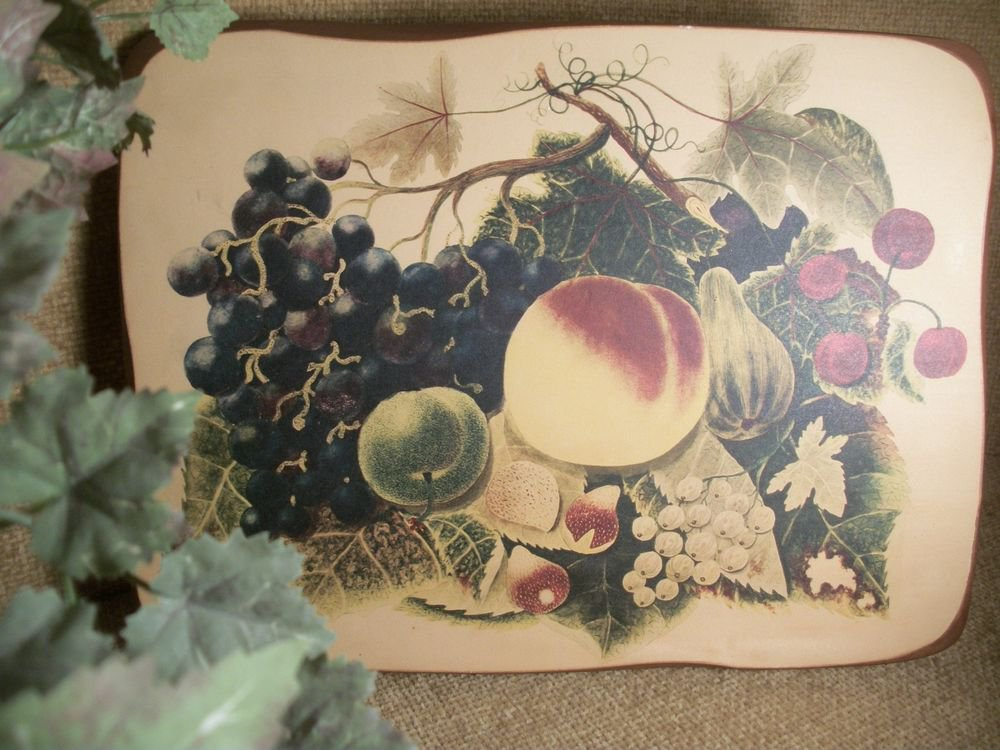 Wall Decor Fruit Still Life VTG Wooden Plaque by Woodsmith Gallery Vermont USA