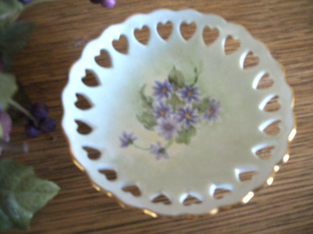 Porcelain Trinket Dish Purple Flowers  Hearts Pedestal Bowl VTG Hand Crafted