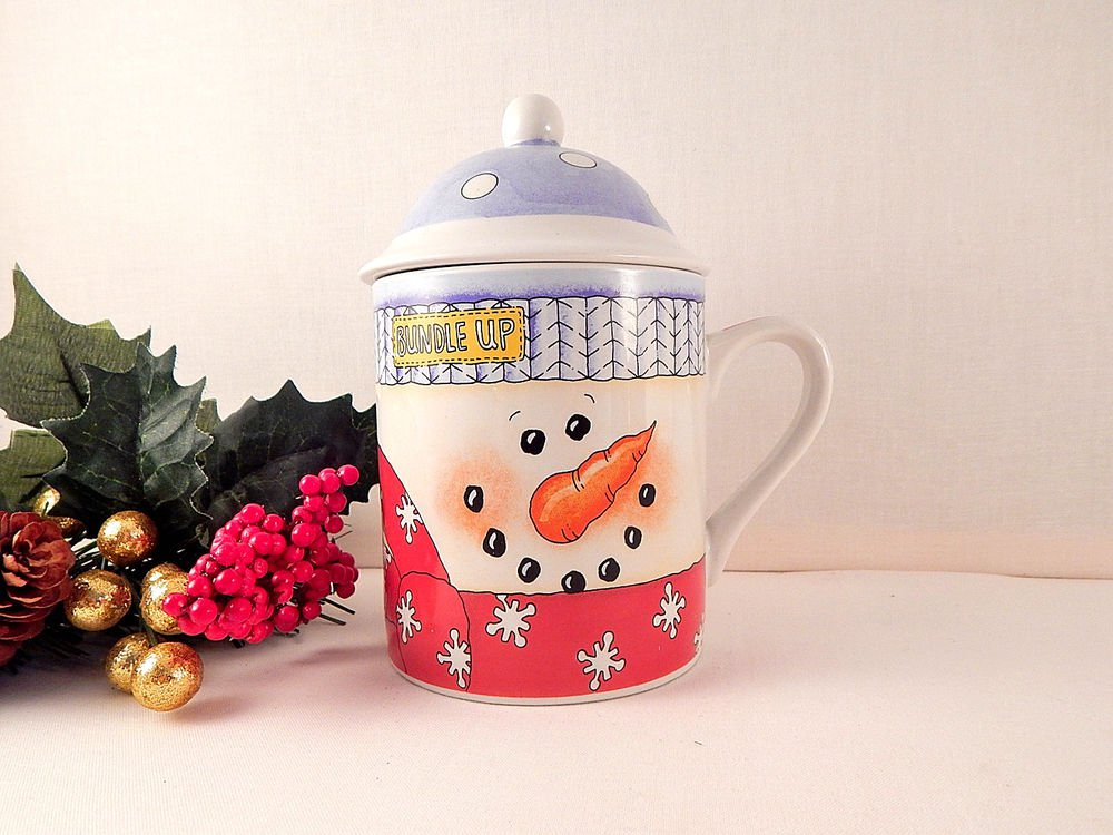 Snowman Mug Covered Jar Ceramic Winter Tableware Christmas Beverage Soup Serving