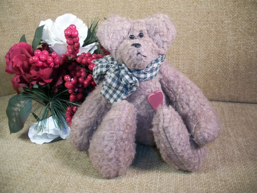 Teddy Bear Brown Plush Handcrafted Country Woodland Home Decor Stuffed Animal