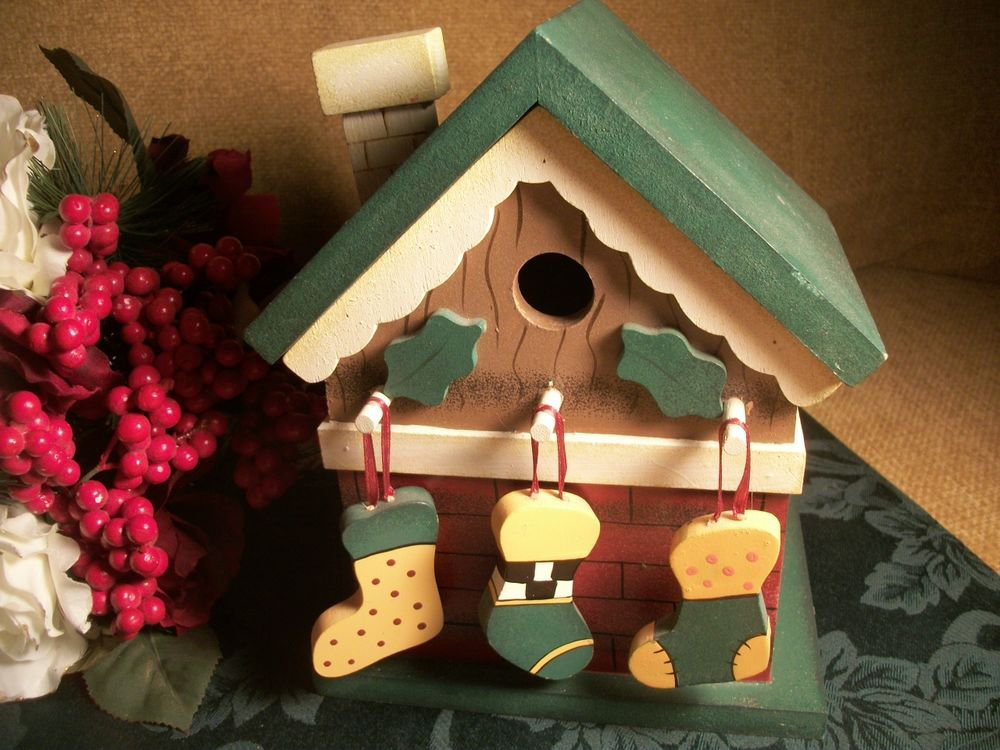 Debbie Mumm Painted Wood Bird House with Christmas Stockings Holiday Decoration