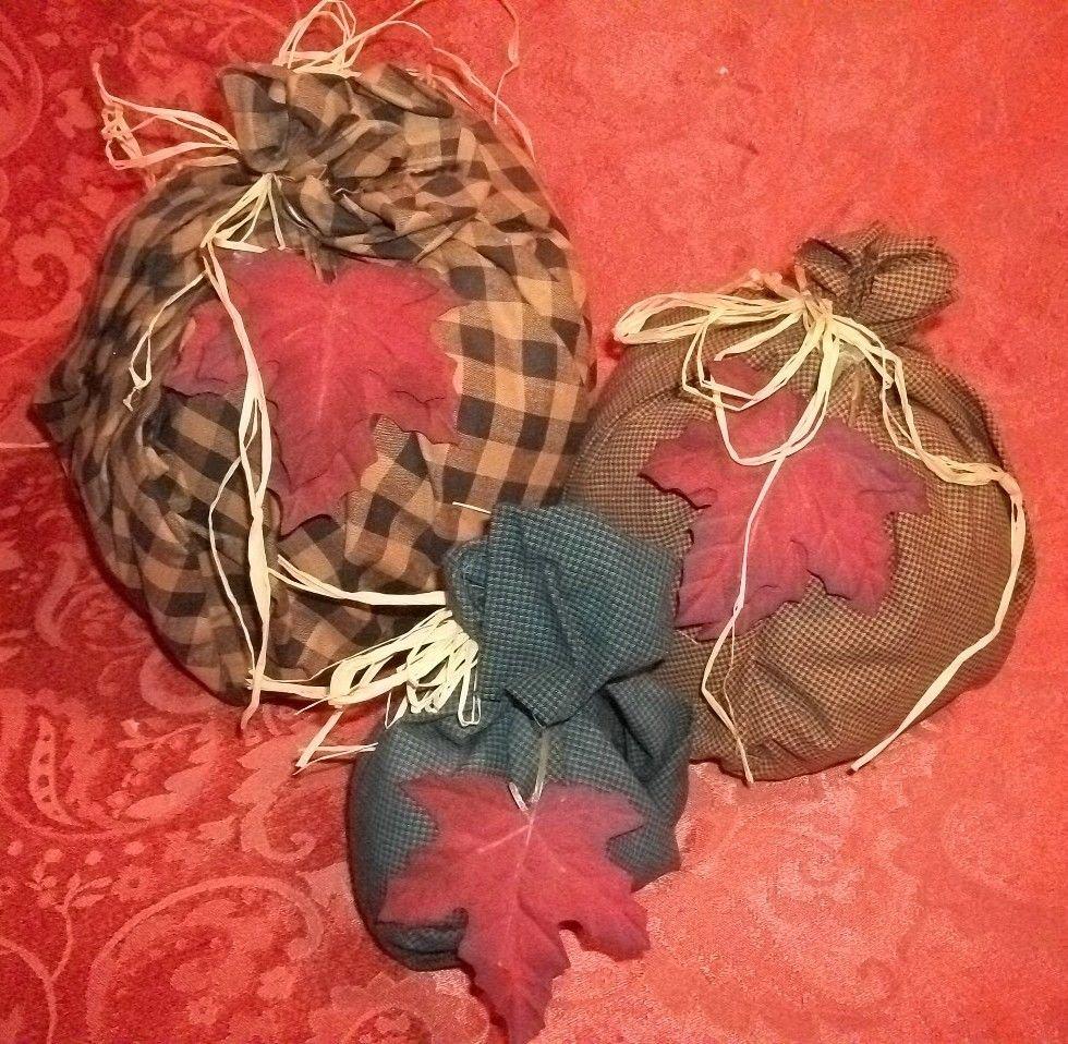 Fabric Pumpkins Three Plaid Cotton Free Form Raffia Tied Fiber Filled Fall Decor
