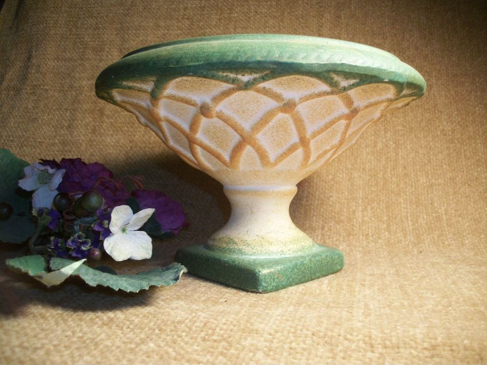 Bisque Ceramic Vase Urn Footed Pedestal Dish Pineapple Pattern Home Decor