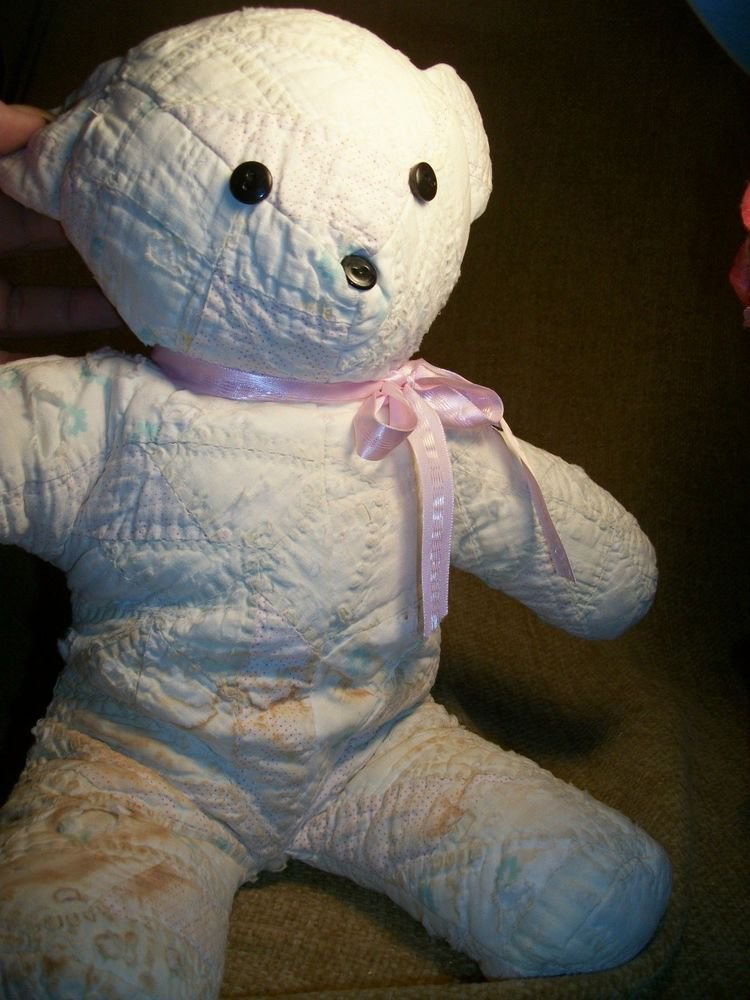 Teddy Bear Stiffesd Animal Made From Antique Quilts Hand Sewn VTG Artisan Bear