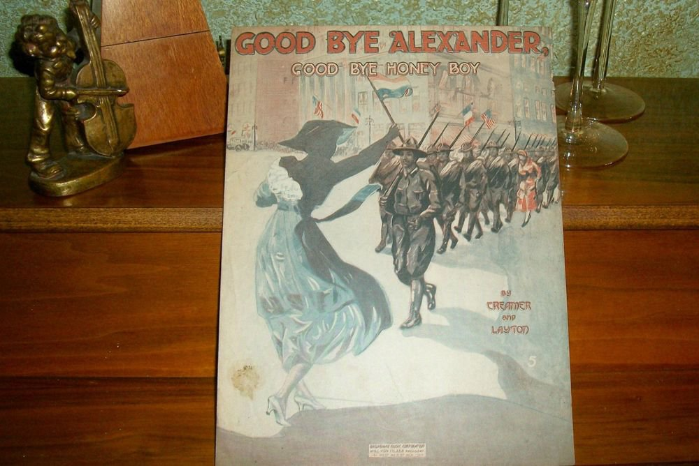 Good Bye Alexander Honey Boy Antique Sheet Music VTG 1918 Vocal Piano WWI Song