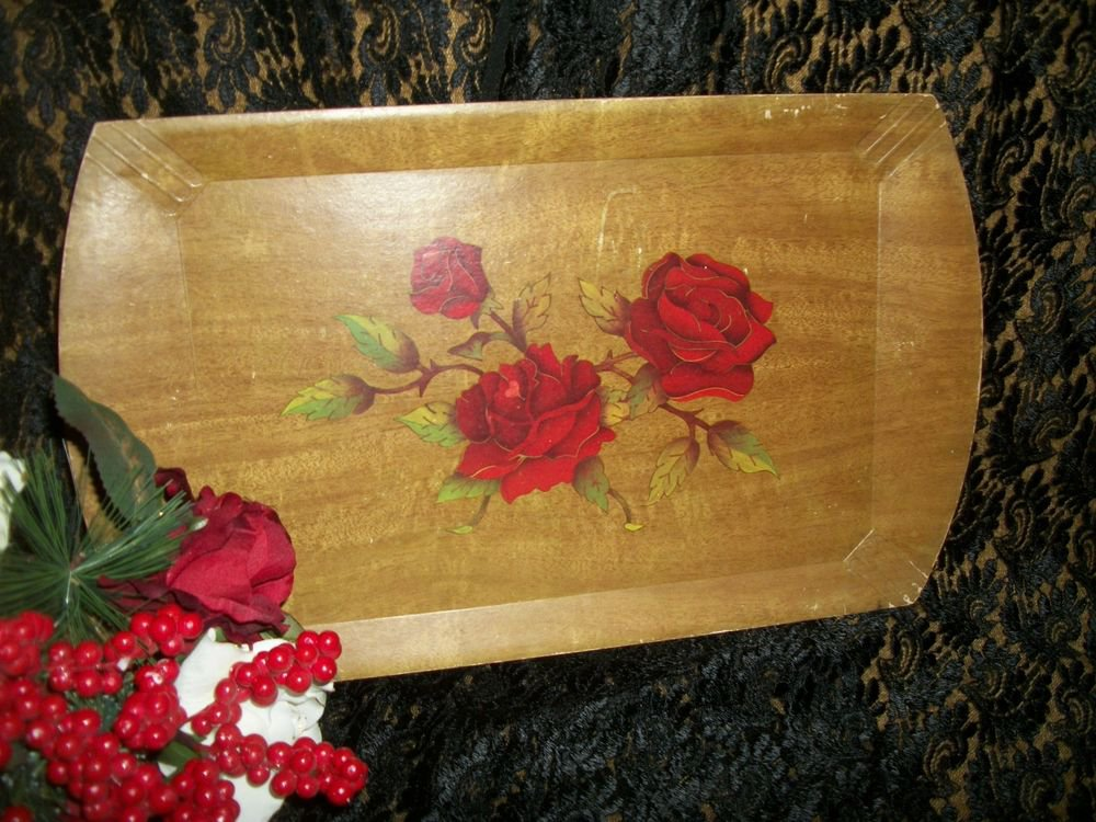 Antique Wood Grain Wild Red Roses Serving Tray from Haskelite Cottage Chic Decor