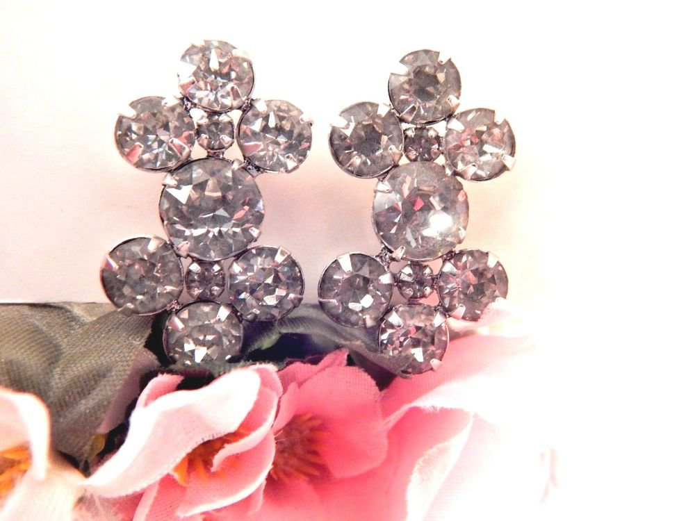 Rhinestone Earrings Screw Back Clip On Cluster Vertical Drop VTG Costume Jewelry
