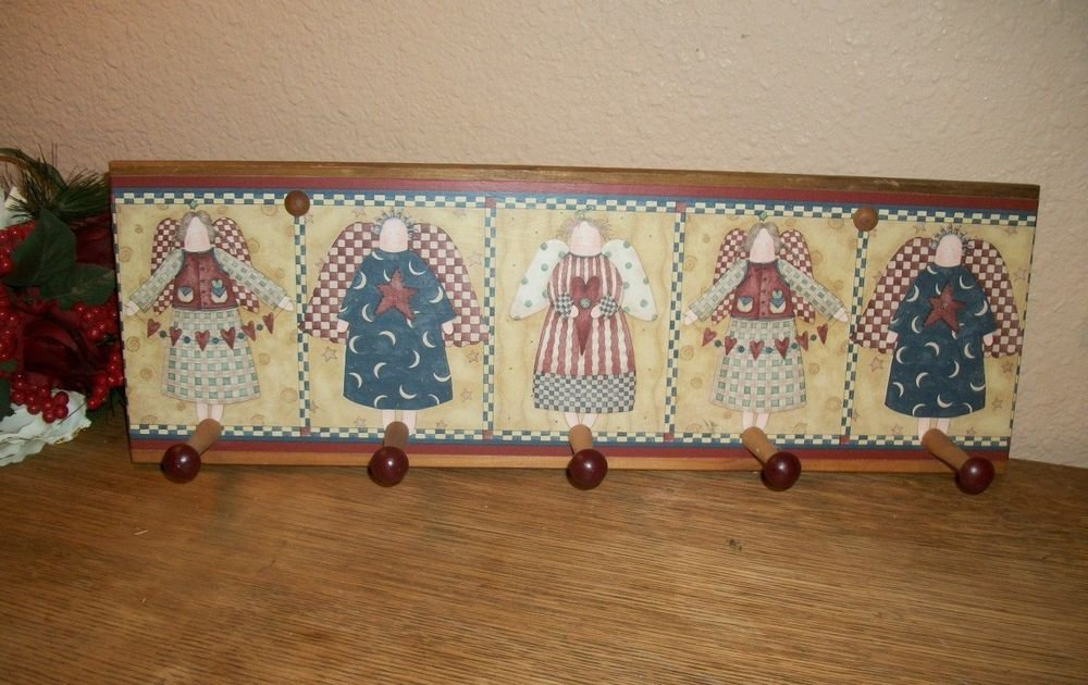 Peg Hook Wood Hat Coat Rack Wall Hanging Americana Angels Red Blue Home Decor
