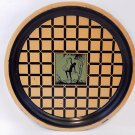 Art Deco Nude Woman Bar Tray Gold Black Metal Antique Serving Platter